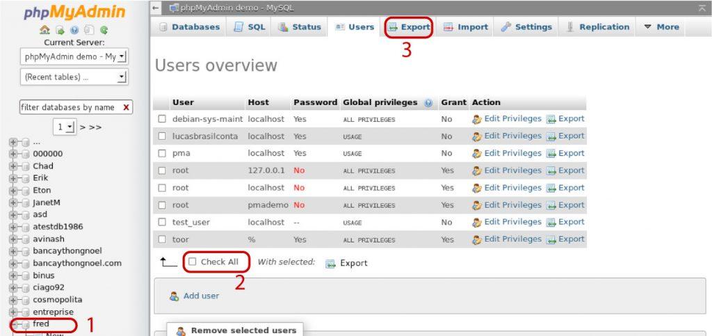 Exportanto arquivos SQL no phpMyAdmin
